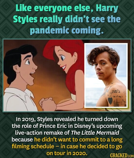 Like everyone else, Harry Styles really didn't see the pandemic coming. an'a In 2019, Styles revealed he turned down the role of Prince Eric in Disney