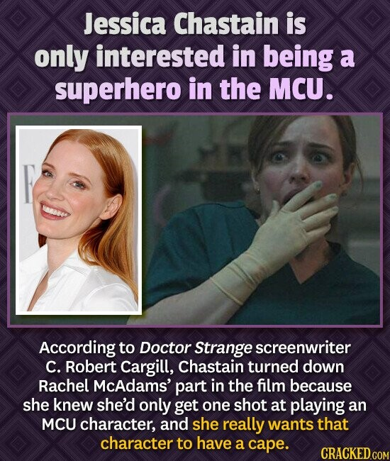 Jessica Chastain is only interested in being a superhero in the MCU. According to Doctor Strange screenwriter C. Robert Cargill, chastain turned down