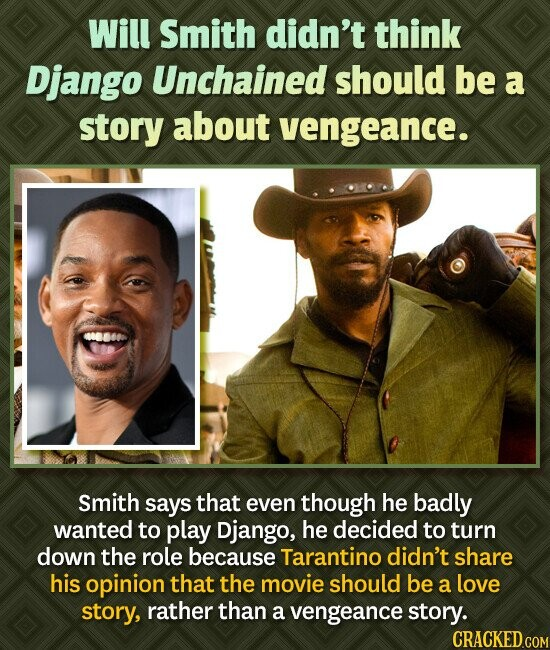 Will Smith didn't think Django Unchained should be a story about vengeance. 08000 Smith says that even though he badly wanted to play Django, he decid