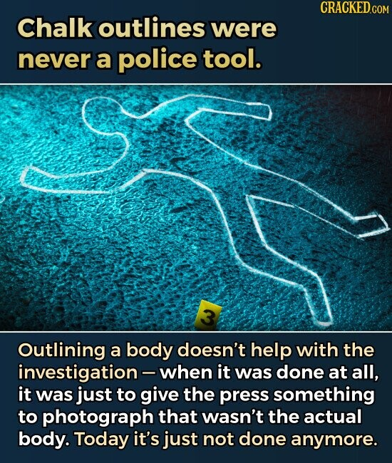 Chalk outlines were never a police tool. 3 outlining a body doesn't help with the investigation- when it was done at all, it was just to give the press something to photograph that wasn't the actual body. Today it's just not done anymore.