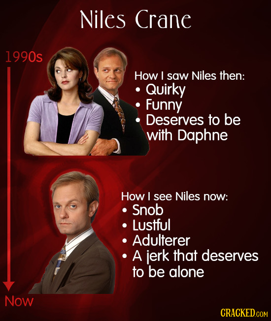 Niles Crane 1990s How I saw Niles then: Quirky Funny Deserves to be with Daphne How I see Niles now: Snob Lustful Adulterer A jerk that deserves to be