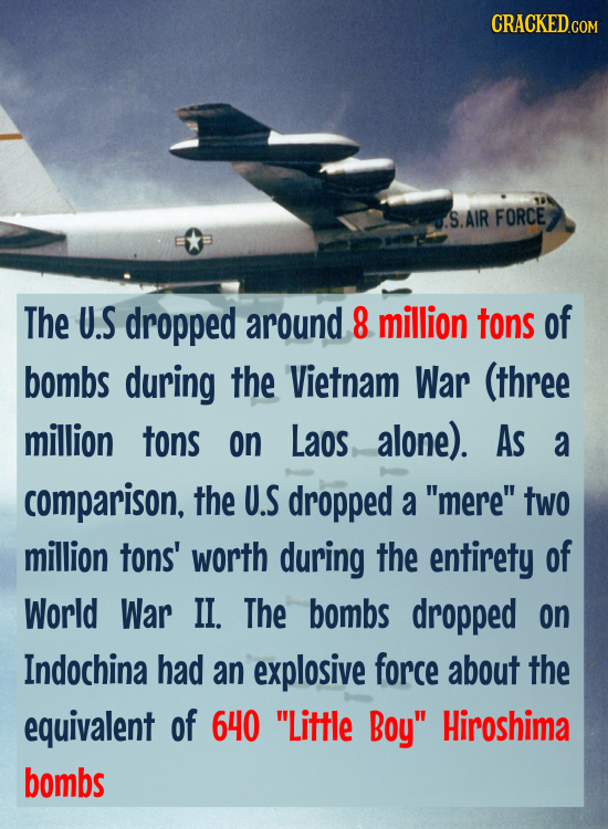 J.S.AIR FORCE The U.S dropped around 8 million tons of bombs during the Vietnam War (three million tons on Laos alone). As a comparison, the U.S dropp