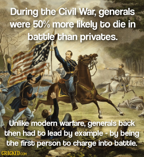 During the Civil War, generals were 50% more likely to die in battle than privates. Unlike modern warfare, generals back then had to lead by example-