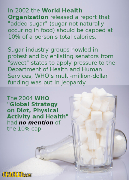 In 2002 the World Health Organization released a report that added sugar (sugar not naturally occuring in food) should be capped at 10% of a person'