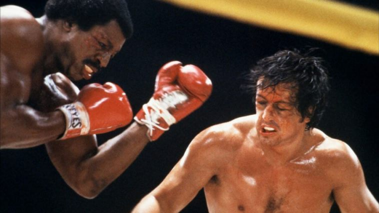 Apollo Creed (Carl Weathers) battles Rocky Balboa (Sylvester Stallone) once again in Rocky II.