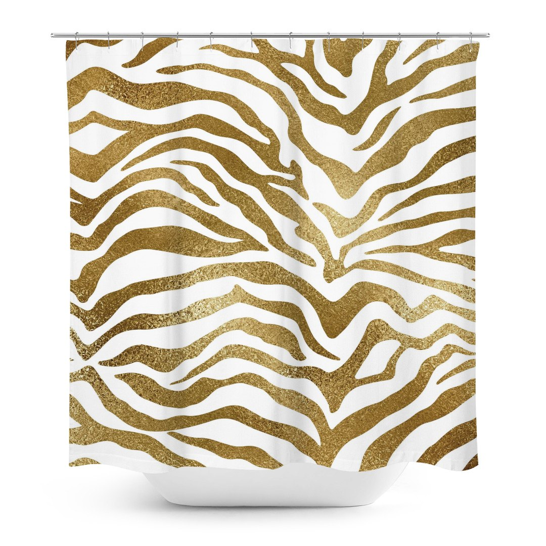 Gold Zebra Print Shower Curtain
