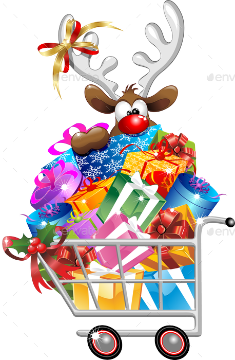 Santa And Reindeer Cartoon With Christmas Shopping By