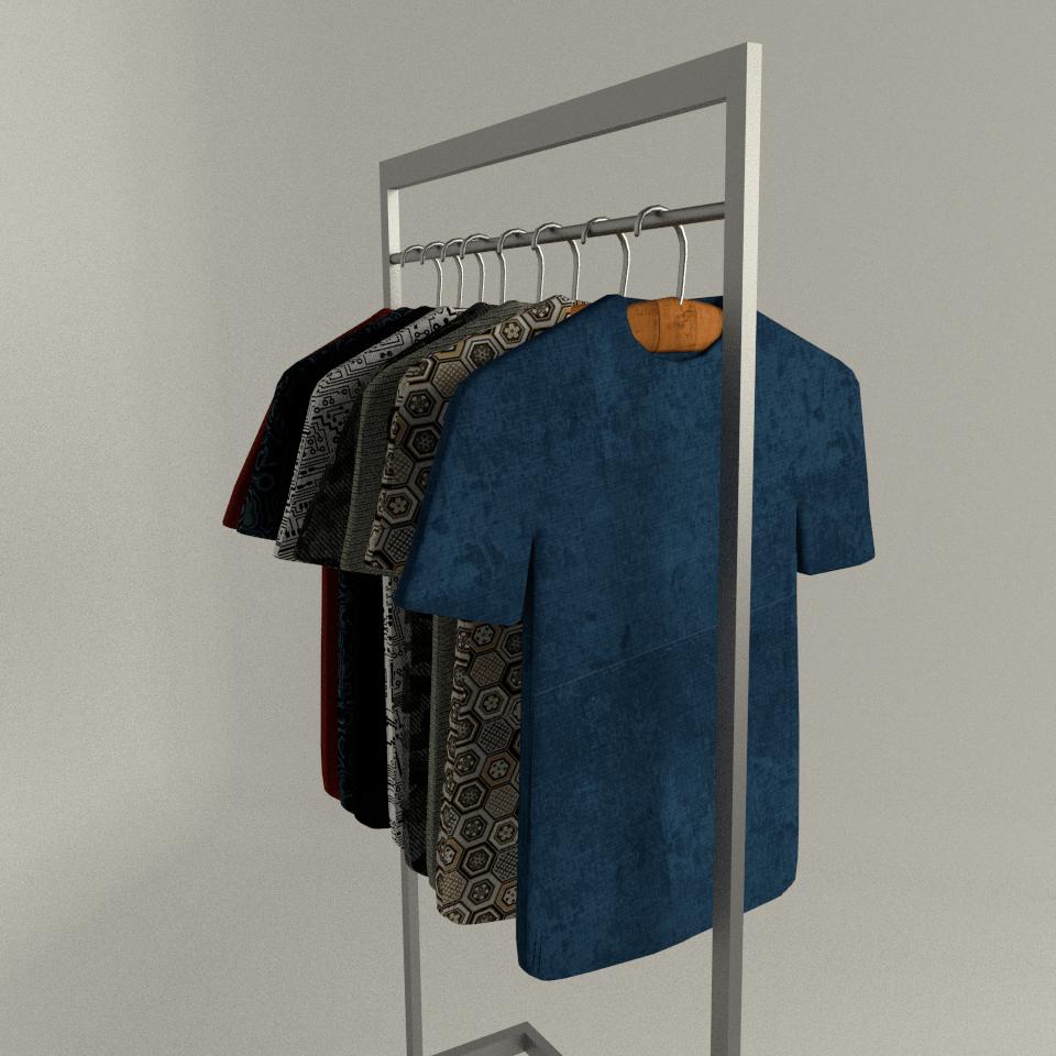 t shirt display set low poly
