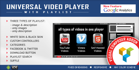 visual composer addon universal video player