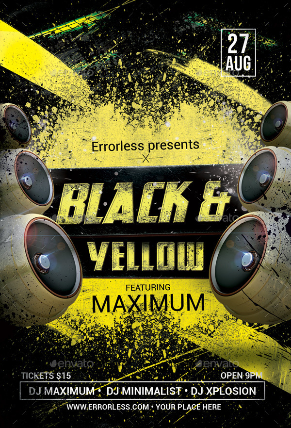 Black Amp Yellow Party Flyer By Errorless GraphicRiver