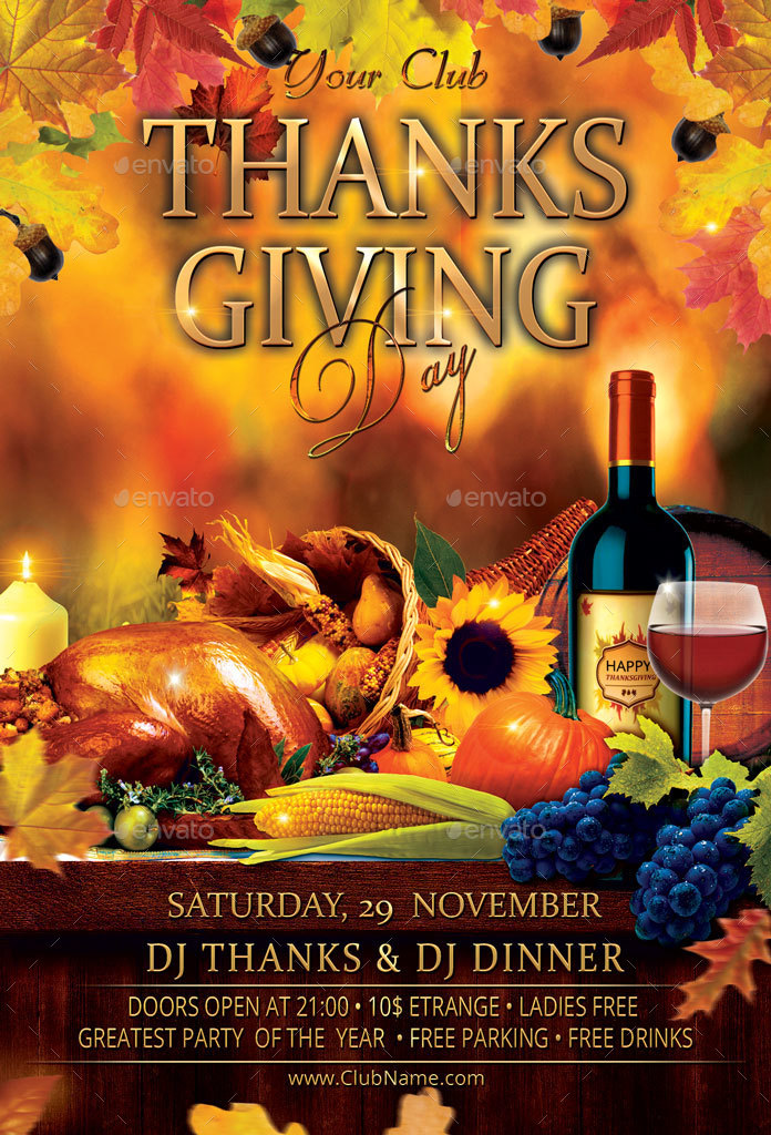 Thanksgiving Day Party Flyer By Oloreon GraphicRiver