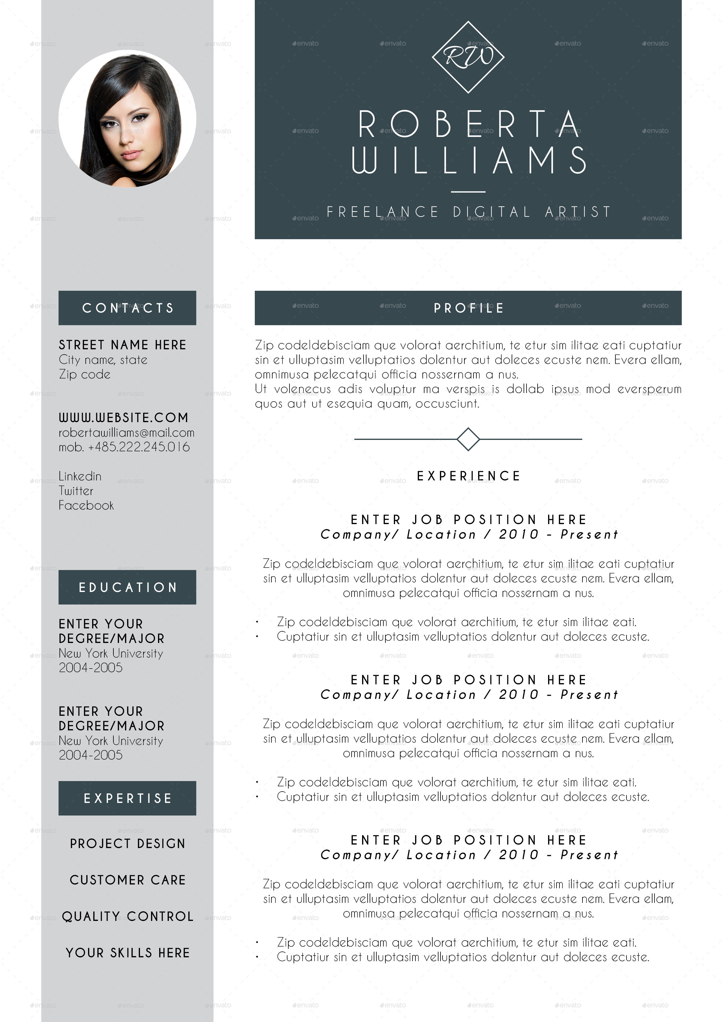Professional Resume CV Indesign Template By Cesarescarselletti GraphicRiver