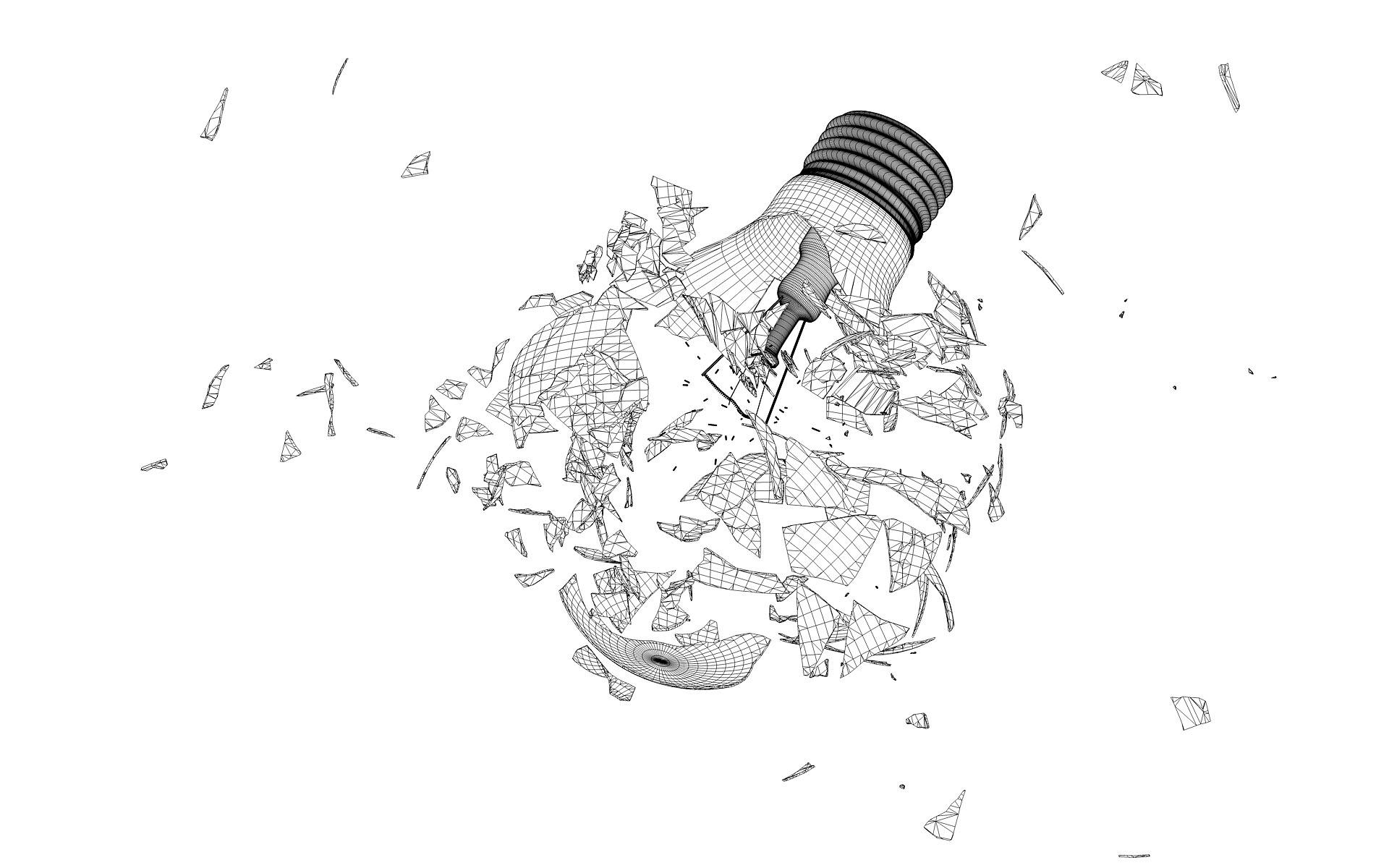 Broken 3d Lightbulb By Esseti