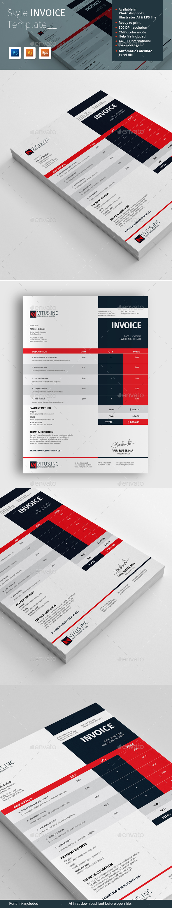 Style Invoice Template by alimran24   GraphicRiver Style Invoice Template   Proposals   Invoices Stationery