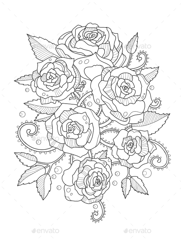 Roses Coloring Book For Adults By AlexanderPokusay