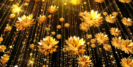 Gold Flowers Background by AS 100   VideoHive Gold Flowers Background