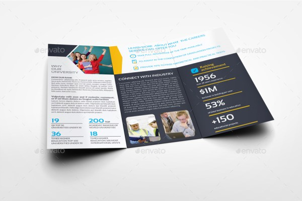 University College Tri Fold Brochure Template by