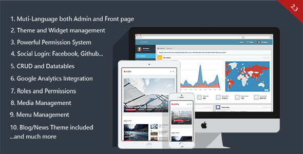 Botble - Laravel CMS, CRUD generator, Modular & Theme system, Role pemissions, Multilingual blog