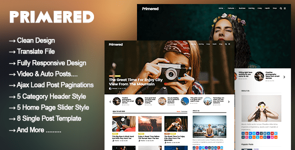 preview.  large preview - Primered - WordPress Blog Magazine Theme