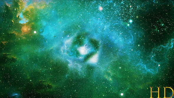 Abstract Green Space Nebula Background by KetrinPrize