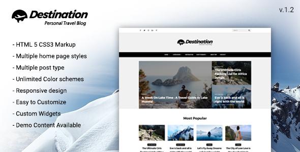 theme preview.  large preview - Destination Travel WordPress Blog Theme