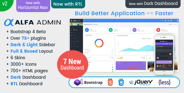 Bootstrap 4, HTML5 Responsive Admin Template