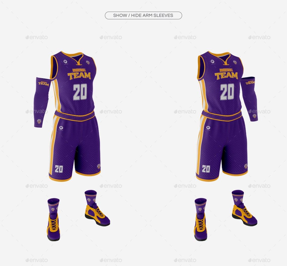 Download Men's Full Basketball Kit Wishbone Collar Jersey Mock up ...
