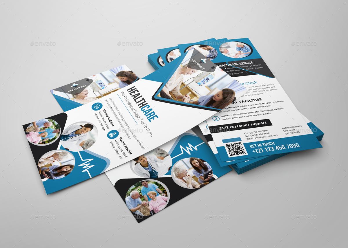 healthcare rack card dl flyer design template