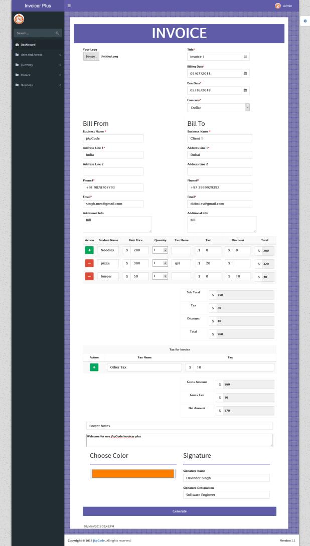Invoicer Plus (Invoice Generator) Open Source Asp net Mvc 5