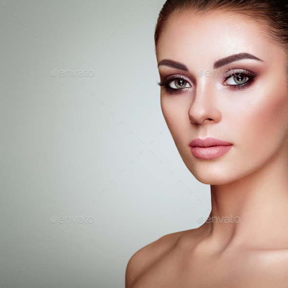 Beautiful Woman Face With Perfect Makeup Stock Photo By