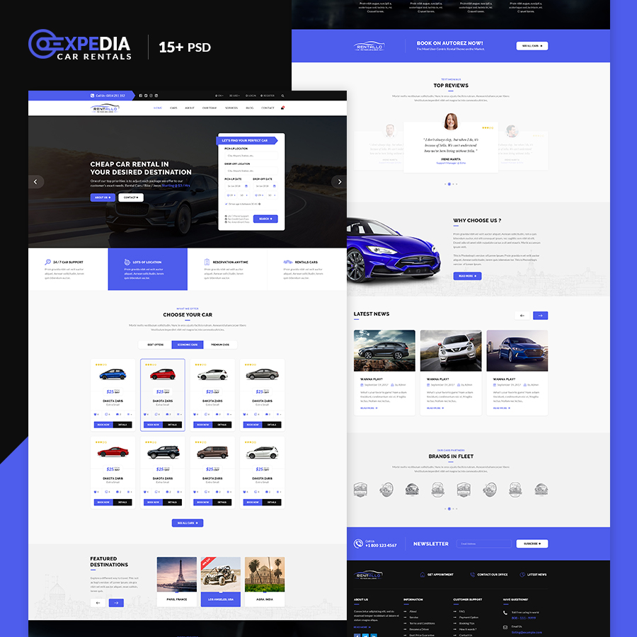 Xpedia-Car Rental PSD Template - 1