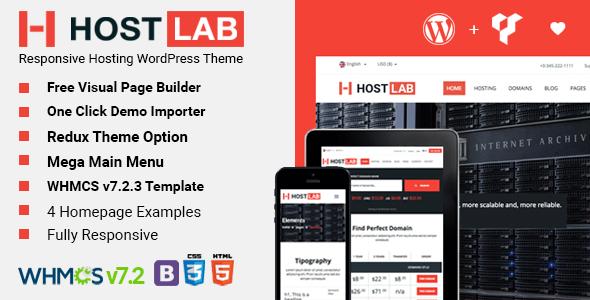 HostLab - Responsive Hosting Service With WHMCS WordPress Theme