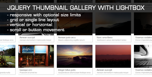 JQuery Thumbnail Gallery With LightBox by Tean | CodeCanyon
