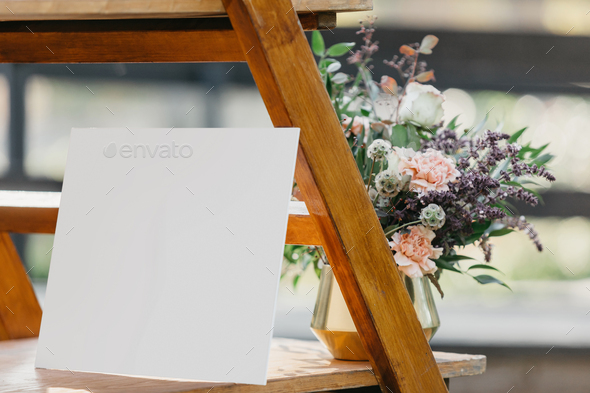 Free for personal and commercial use. Boho Wedding Zone For Guests Mockup Blank Card For Greeting Invitation Template With Flowers Stock Photo By Prostock Studio