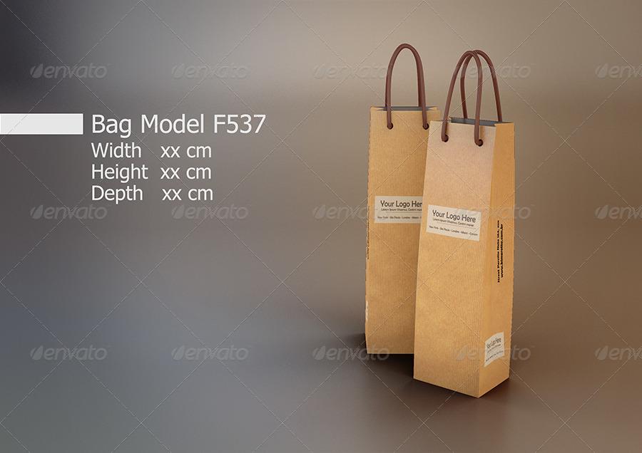 Wine bottle with a hang tag. Bundle Paper Bag Mockup By Kimarotta Graphicriver