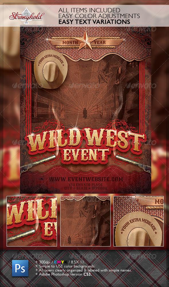 Wild West Gunslinger Flyer Poster Template By