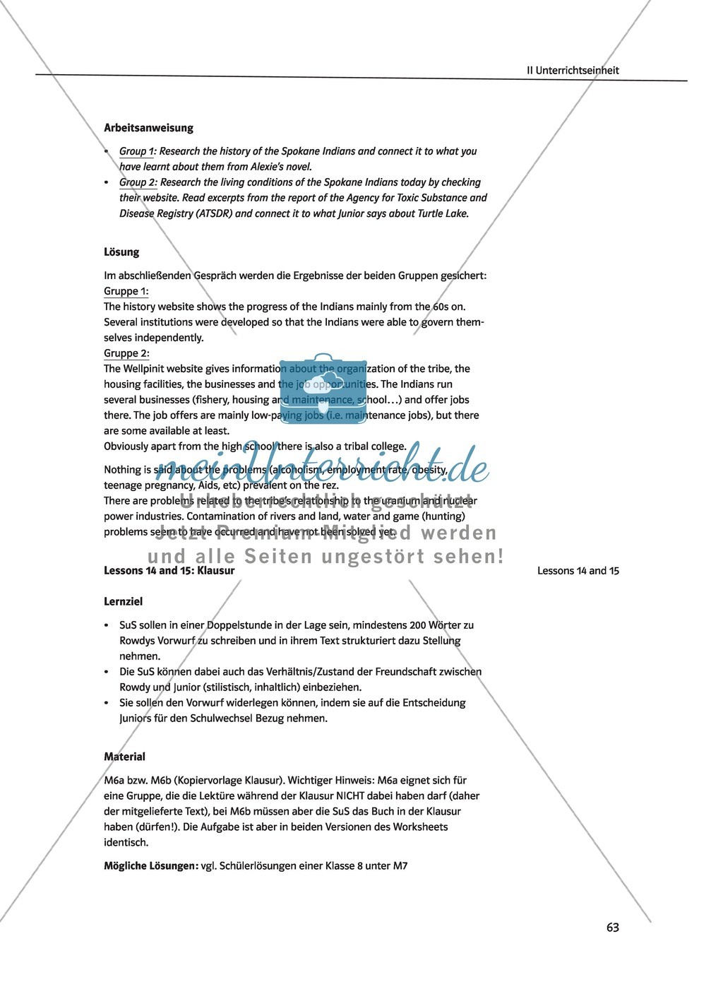 Literatur Middle School English Worksheet