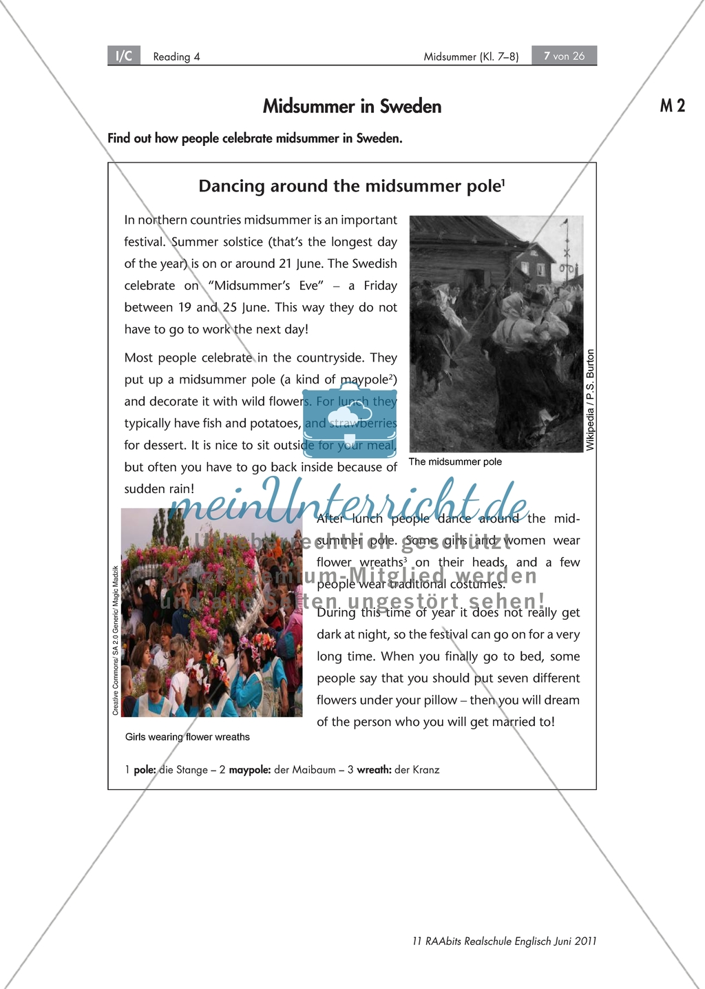 Midsummer Traditions Reading Race Worksheets
