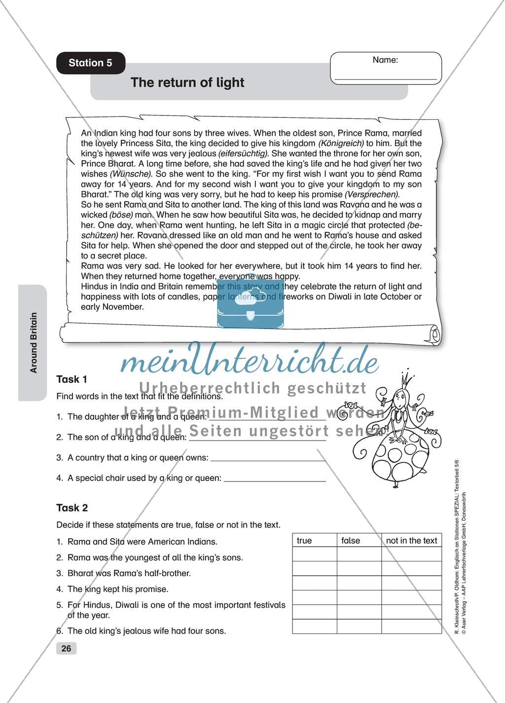 Text Work The Return Of Light Worksheet And Solution