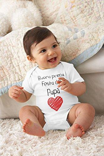 Buona Prima Festa del papà - Regalo per Il Padre Body Neonato Manica Corta 0-3 Mesi Bianco - 3