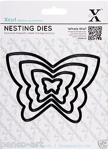 Xcut 4 Piece Butterfly Nesting Dies Use ,Sizzix,Big Shot Craft Machines by Docrafts - 1
