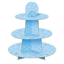 Unique Party 90399 - Alzata per Cupcake a Pois Blu per Baby Shower - 1