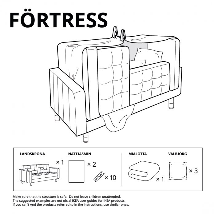 self assembly pillow fort instructions