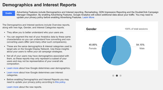 Enable Demographics reporting in Google Analytics