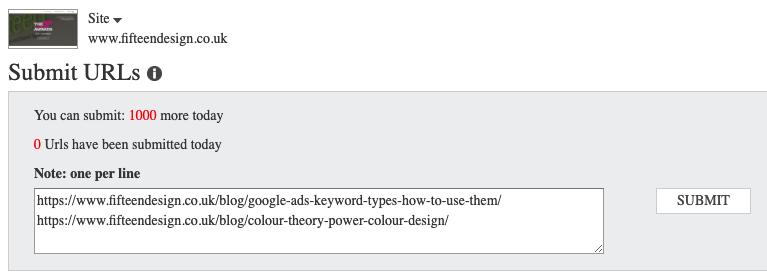 Submit Multiple URLs to Bing