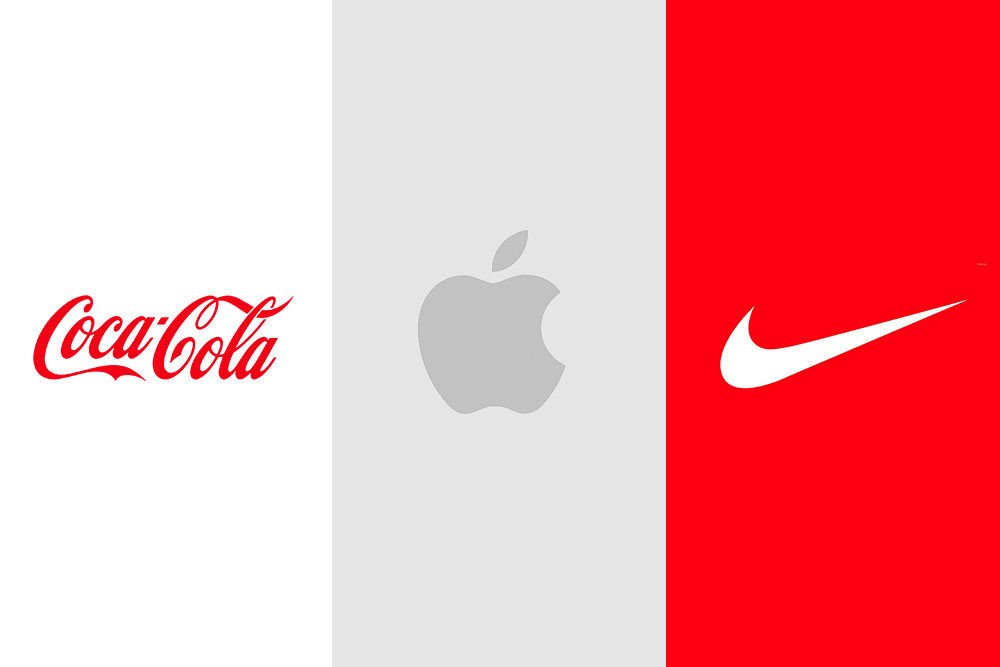 Coca Cola, Apple & Nike Logos