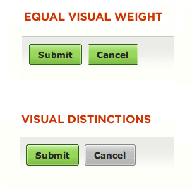 Visual Weight Example CTA Buttons
