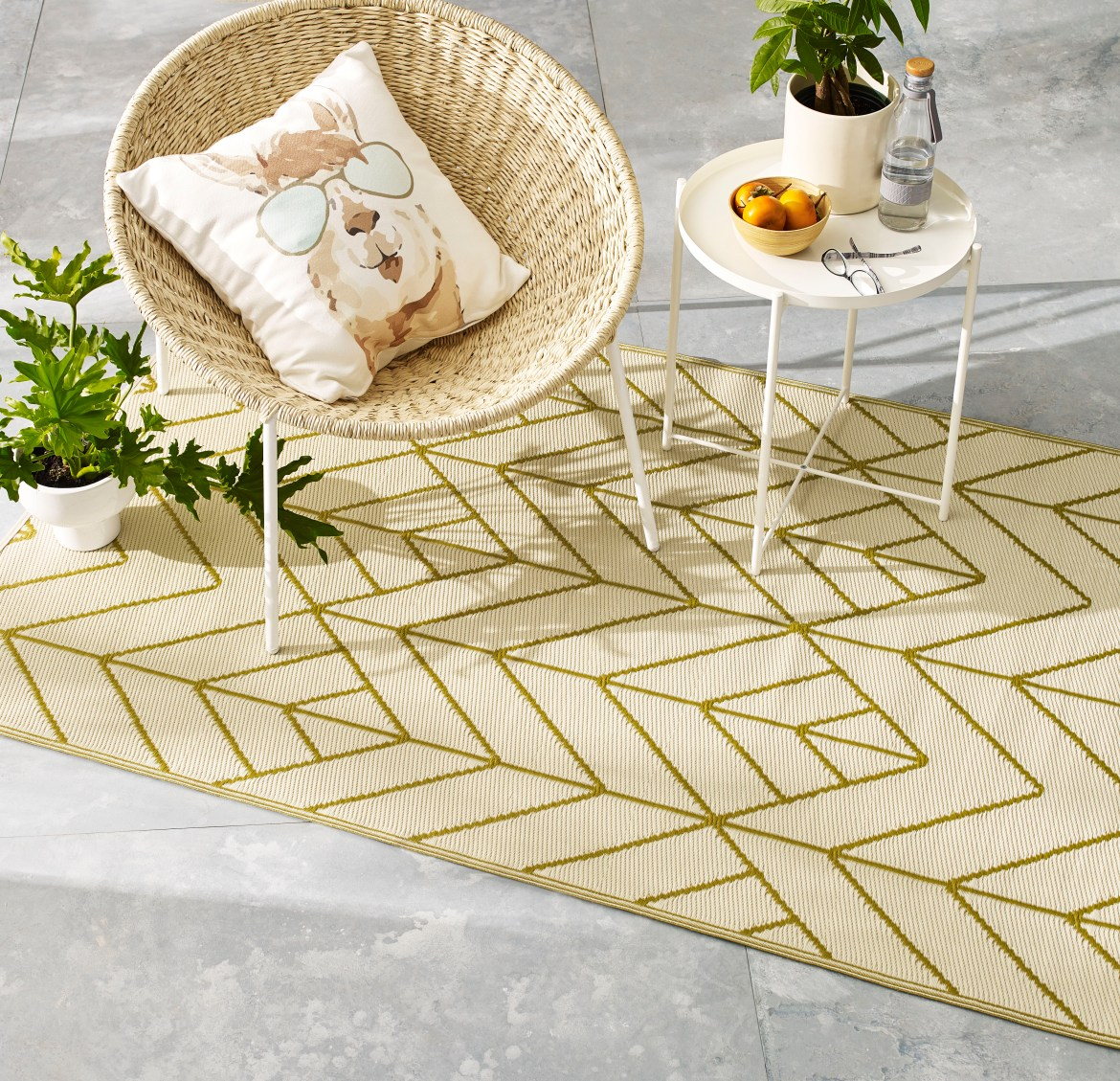 outdoor rugs with rattan chair and table