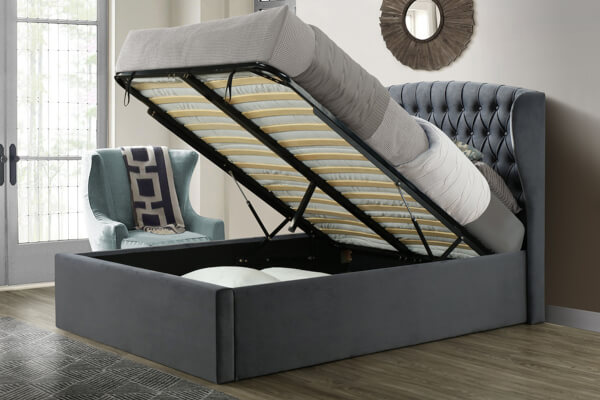 bedmaster warwick grey velvet ottoman bed