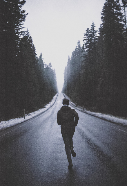 boy, cold, darkness, empty, far away, forest, indie, pale, photography, road, run, running, scape, snow, soft grunge, trees, vintage, winter, woods